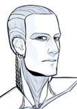 Retrato futurista del ejemplo del cyborg aislado en el fondo blanco fotos de archivo libres de regalías