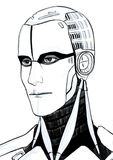 Retrato futurista del ejemplo del cyborg aislado en el fondo blanco fotos de archivo