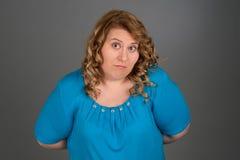 Retrato gordo de la mujer Imagenes de archivo