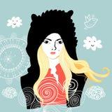 Retrato gráfico de una muchacha Imágenes de archivo libres de regalías