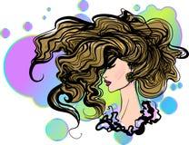Retrato gráfico desenhado à mão à moda da menina do vetor Fotografia de Stock