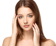 Retrato hermoso de la cara de la mujer con cierre fresco limpio de la piel para arriba Muchacha sana de la piel Face Imagen de archivo libre de regalías