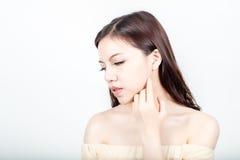 Retrato hermoso de la cara de la mujer con la piel sana Imágenes de archivo libres de regalías