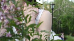 Retrato hermoso de la muchacha cerca de un árbol floreciente en el parque El concepto de juventud y de belleza natural Una chica  almacen de video