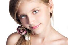 Retrato hermoso de la muchacha de la escuela Foto de archivo