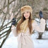 Retrato hermoso de la muchacha en invierno Fotos de archivo libres de regalías