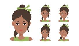 Retrato hermoso de la mujer con diversas expresiones faciales libre illustration