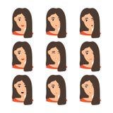 Retrato hermoso de la mujer con diversas expresiones faciales stock de ilustración