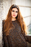 Retrato hermoso de la mujer con el pelo largo rojo y el maquillaje Imagenes de archivo