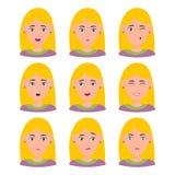 Retrato hermoso de la mujer con expresiones faciales ilustración del vector