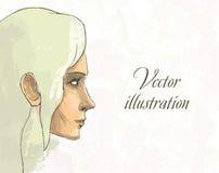 Retrato hermoso de la mujer. Vector dibujado mano libre illustration