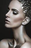Retrato hermoso de una mujer con el maquillaje de plata fotografía de archivo