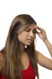 Retrato hermoso del adolescente con dolor de cabeza Fotos de archivo libres de regalías