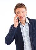 Retrato hermoso del hombre que habla en el teléfono celular Fotos de archivo libres de regalías