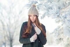 Retrato hermoso del invierno de la mujer joven en Imágenes de archivo libres de regalías