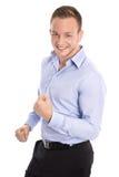 Retrato: Hombre de negocios elegante joven acertado aislado que anima a Imagen de archivo