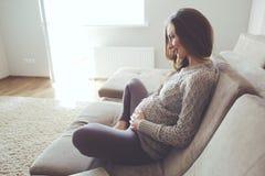 Retrato home da mulher gravida Foto de Stock Royalty Free