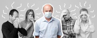 Retrato horizontal de diversos homens e mulheres que estão com a gripe Homens na máscara especial vestindo média imagens de stock royalty free