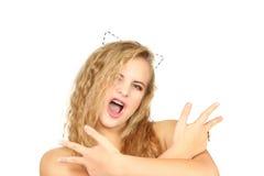 Retrato horizontal de la muchacha en un fondo blanco Fotos de archivo libres de regalías