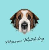 Retrato ilustrado vector del perro del perro guardián de Moscú stock de ilustración