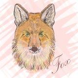 Retrato ilustrativo del vector de un Fox rojo Fotos de archivo libres de regalías
