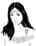 Retrato indio americano joven de la mujer, bosquejo dibujado mano, pelo negro Imágenes de archivo libres de regalías