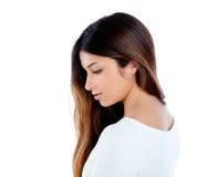Retrato indio asiático del brunette de la muchacha del perfil Fotos de archivo libres de regalías