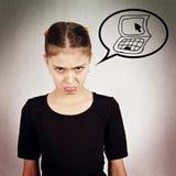 Retrato infeliz, niña irritable, gruñona Fotografía de archivo libre de regalías
