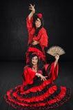 Retrato integral de dos bailarines españoles Foto de archivo libre de regalías