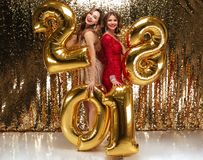 Retrato integral de dos muchachas atractivas sonrientes Fotografía de archivo libre de regalías