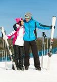 Retrato integral de esquiadores de abarcamiento Foto de archivo