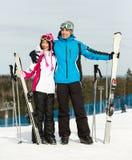 Retrato integral de esquiadores en declive de abarcamiento Foto de archivo