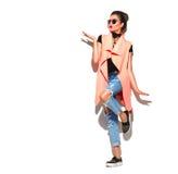 Retrato integral de la muchacha del modelo de moda aislado en blanco Imágenes de archivo libres de regalías