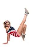 Muchacha americana bastante divertida en blanco Foto de archivo