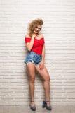 Retrato integral de la mujer adulta joven sonriente de la expresión que se inclina contra la pared de ladrillo Fotografía de archivo