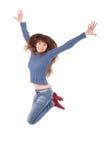 Retrato integral de un salto alegre de la muchacha Fotografía de archivo libre de regalías