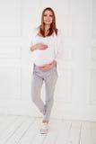 Retrato integral del tacto hermoso joven de la mujer embarazada Fotografía de archivo