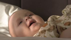 Retrato interno de seis meses felizes do bebê idoso filme