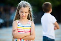 Retrato irritado da menina foto de stock royalty free