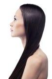Retrato isolado de uma morena de cabelos compridos nova em um perfil Imagem de Stock
