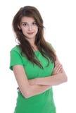 Retrato: Jovem mulher bonita isolada sobre o gree vestindo branco Fotografia de Stock