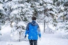 Retrato joven del adolescente masculino que camina en el bosque nevoso f del invierno fotografía de archivo
