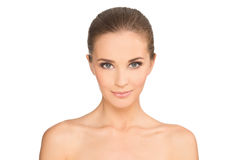 Retrato lateral da mulher de sorriso bonita Fotografia de Stock Royalty Free