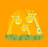 Retrato lindo de la familia de la jirafa Fotos de archivo libres de regalías