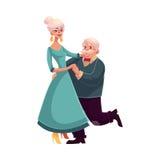 Retrato lleno de la altura de los viejos, mayores pares que bailan junto Imágenes de archivo libres de regalías