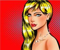 Retrato louro bonito da menina do pino-acima do pop art do vetor Imagem de Stock