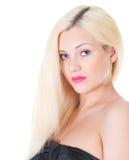 Retrato louro bonito da mulher e cabelo longo reto imagens de stock royalty free