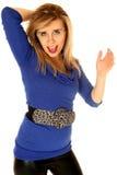 Retrato louro da mulher que veste uma boca grande da correia aberta Fotografia de Stock Royalty Free