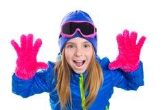 Retrato louro da neve do inverno do gir da criança com mãos abertas Fotos de Stock Royalty Free