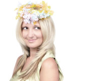 Retrato louro novo do estilo da moda da beleza Imagens de Stock Royalty Free